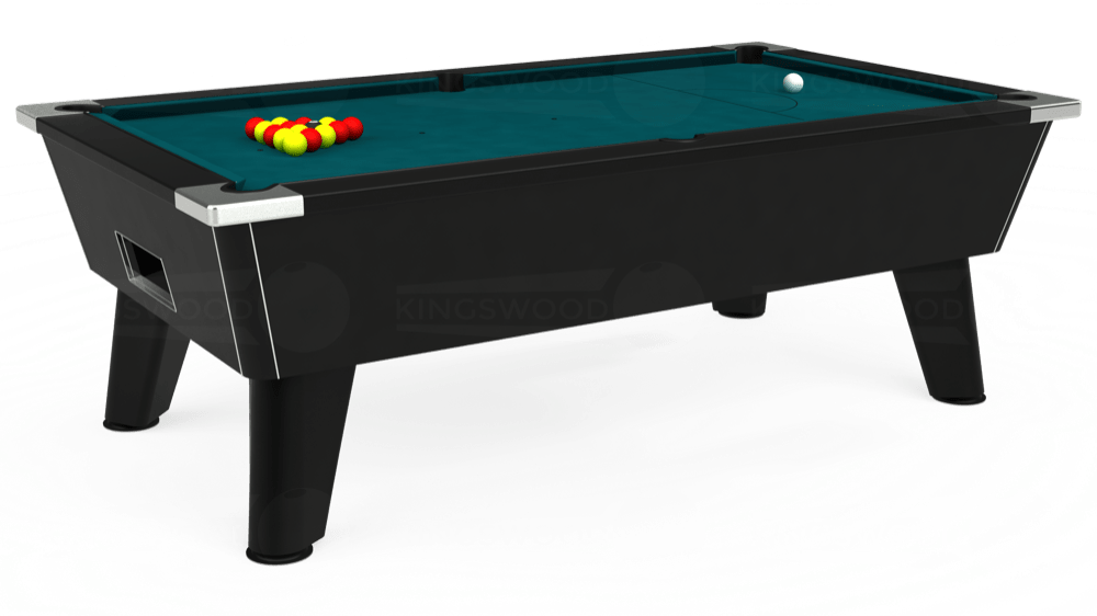 7ft Omega Free Play Pool Table in Black with Hainsworth Elite-Pro Petrol Blue cloth delivered and installed - £1,125.00