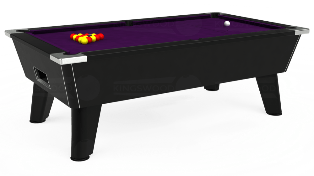 7ft Omega Free Play Pool Table in Black with Hainsworth Elite-Pro Purple cloth delivered and installed - £1,075.00