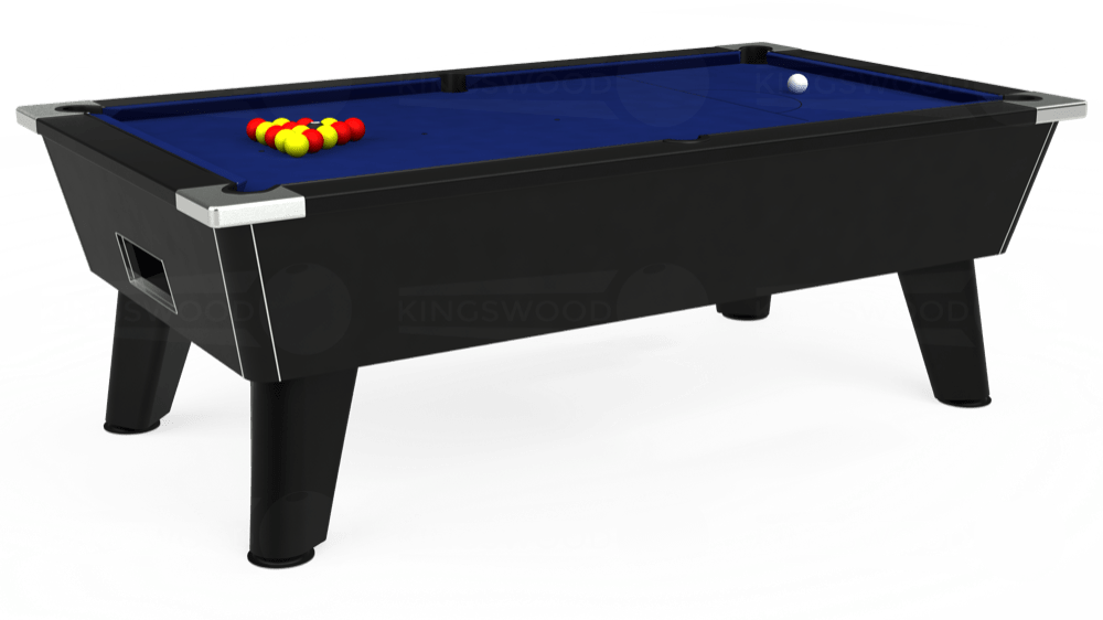 7ft Omega Free Play Pool Table in Black with Hainsworth Elite-Pro Royal Blue cloth delivered and installed - £1,125.00