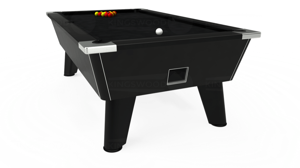 7ft Omega Free Play Pool Table in Black with Hainsworth Smart Black cloth delivered and installed - £1,125.00