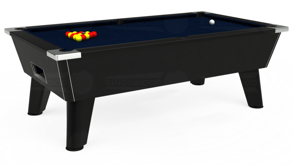 7ft Omega Free Play Pool Table in Black with Hainsworth Smart French Navy cloth delivered and installed - £1,075.00