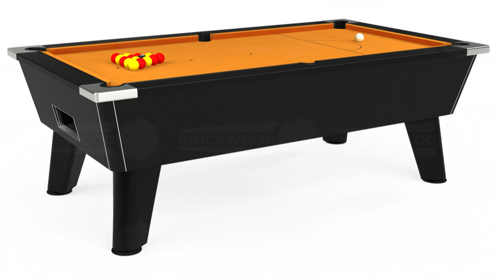 7ft Omega Free Play Pool Table in Black with Hainsworth Smart Gold cloth delivered and installed - £1,125.00
