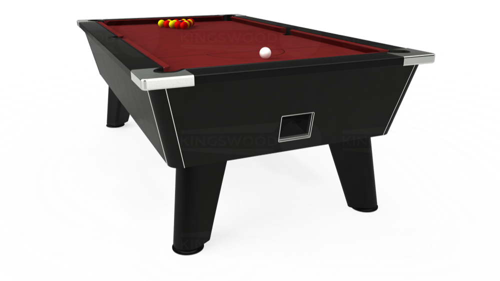 7ft Omega Free Play Pool Table in Black with Hainsworth Smart Maroon cloth delivered and installed - £1,125.00
