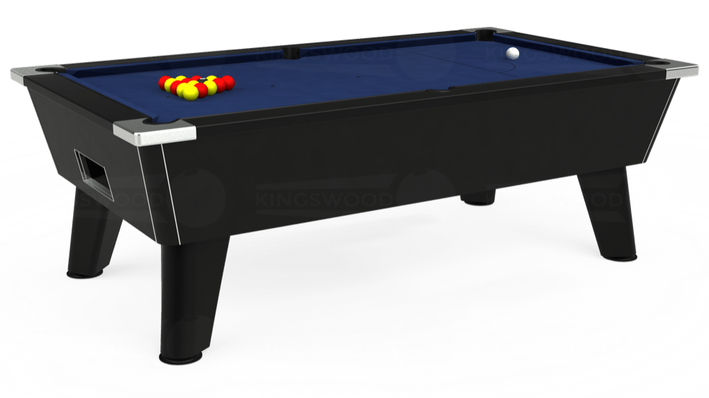 7ft Omega Free Play Pool Table in Black with Hainsworth Smart Navy cloth delivered and installed - £1,125.00