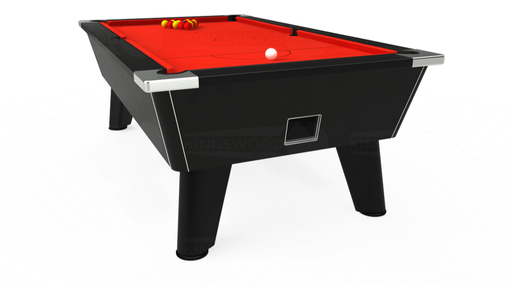 7ft Omega Free Play Pool Table in Black with Hainsworth Smart Orange cloth delivered and installed - £1,075.00