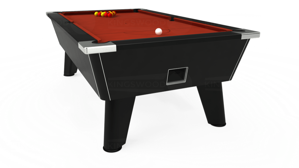 7ft Omega Free Play Pool Table in Black with Hainsworth Smart Paprika cloth delivered and installed - £1,125.00