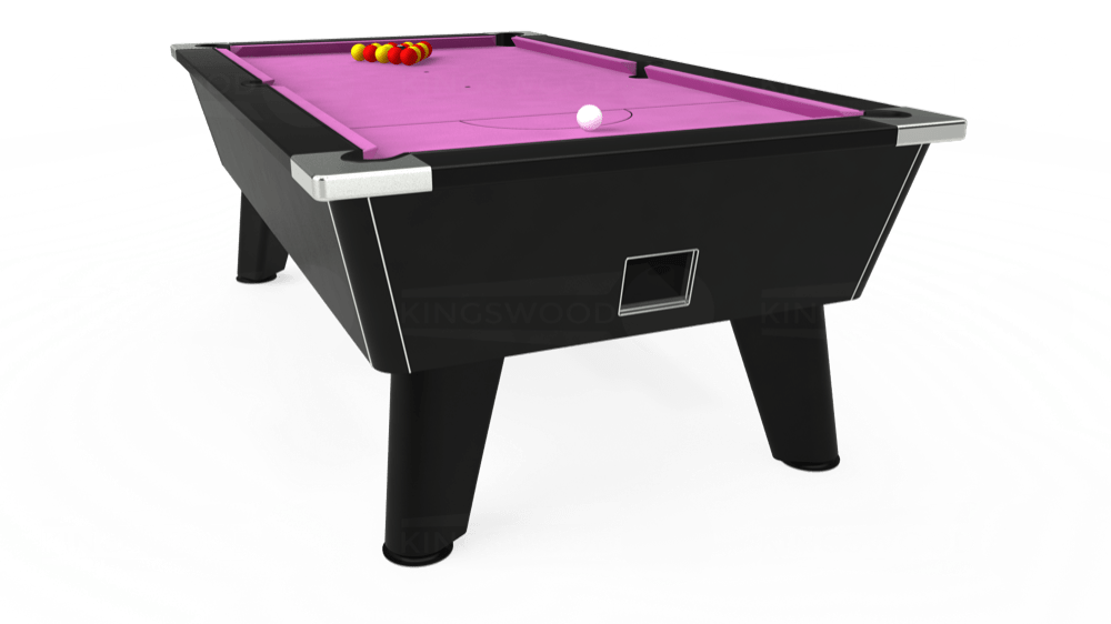 7ft Omega Free Play Pool Table in Black with Hainsworth Smart Pink cloth delivered and installed - £1,125.00