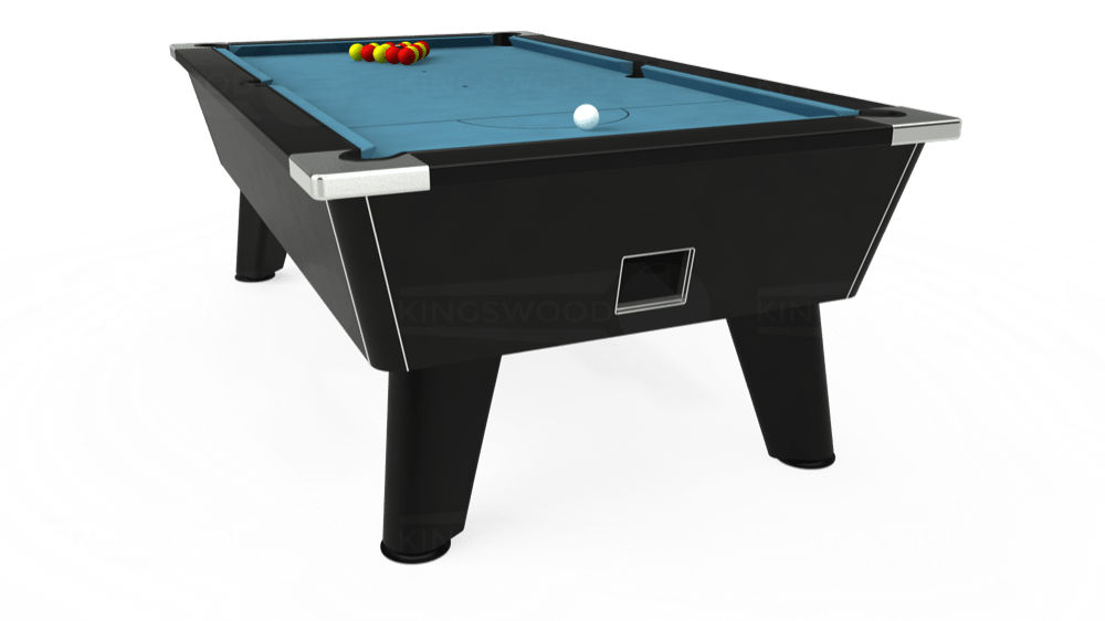 7ft Omega Free Play Pool Table in Black with Hainsworth Smart Powder Blue cloth delivered and installed - £1,075.00