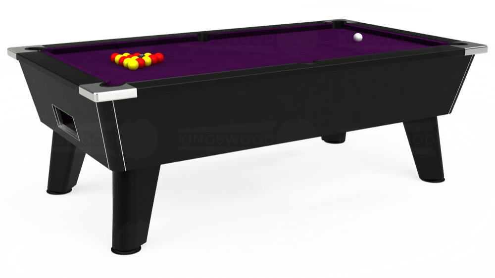 7ft Omega Free Play Pool Table in Black with Hainsworth Smart Purple cloth delivered and installed - £1,125.00