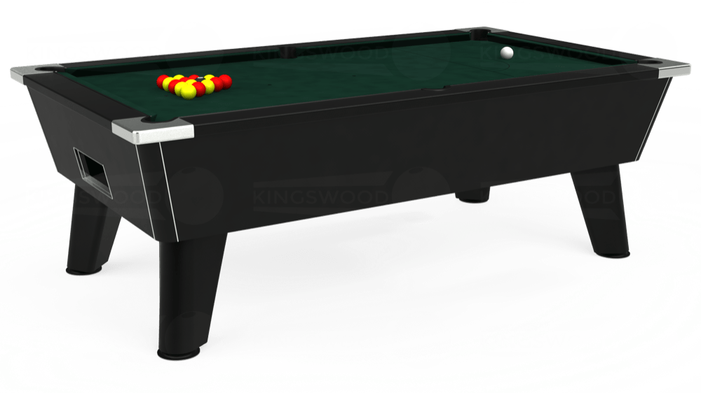 7ft Omega Free Play Pool Table in Black with Hainsworth Smart Ranger Green cloth delivered and installed - £1,125.00