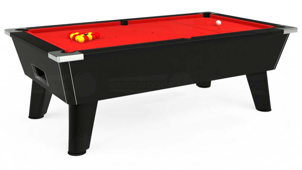 7ft Omega Free Play Pool Table in Black with Hainsworth Smart Red cloth delivered and installed - £1,125.00