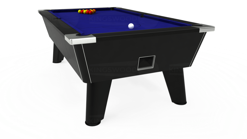 7ft Omega Free Play Pool Table in Black with Hainsworth Smart Royal Blue cloth delivered and installed - £1,125.00