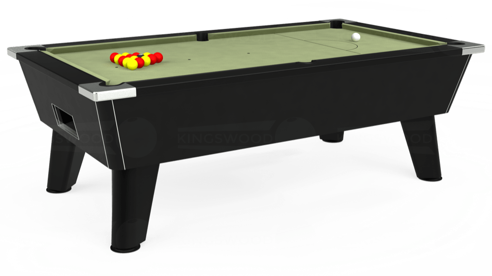 7ft Omega Free Play Pool Table in Black with Hainsworth Smart Sage cloth delivered and installed - £1,125.00