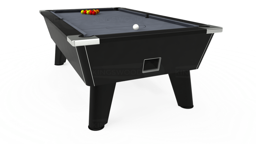7ft Omega Free Play Pool Table in Black with Hainsworth Smart Silver cloth delivered and installed - £1,125.00