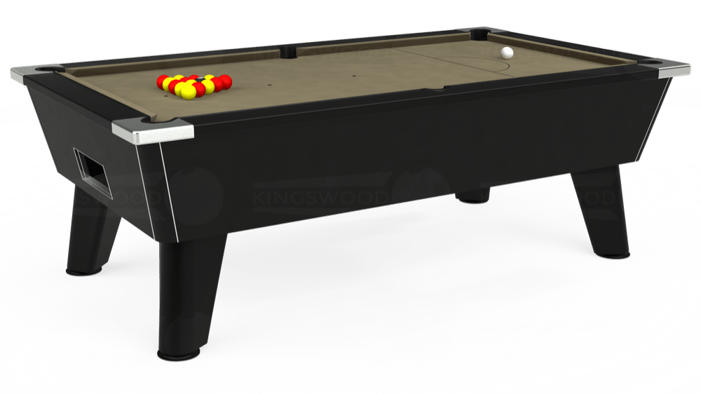 7ft Omega Free Play Pool Table in Black with Hainsworth Smart Taupe cloth delivered and installed - £1,125.00