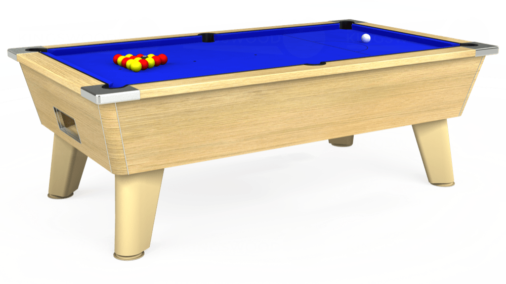 7ft Omega Free Play Pool Table in Light Oak with Standard Blue cloth delivered and installed - £1,025.00