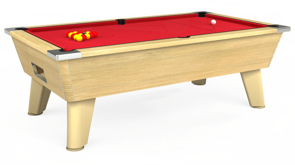 7ft Omega Free Play Pool Table in Light Oak with Standard Red cloth delivered and installed - £975.00