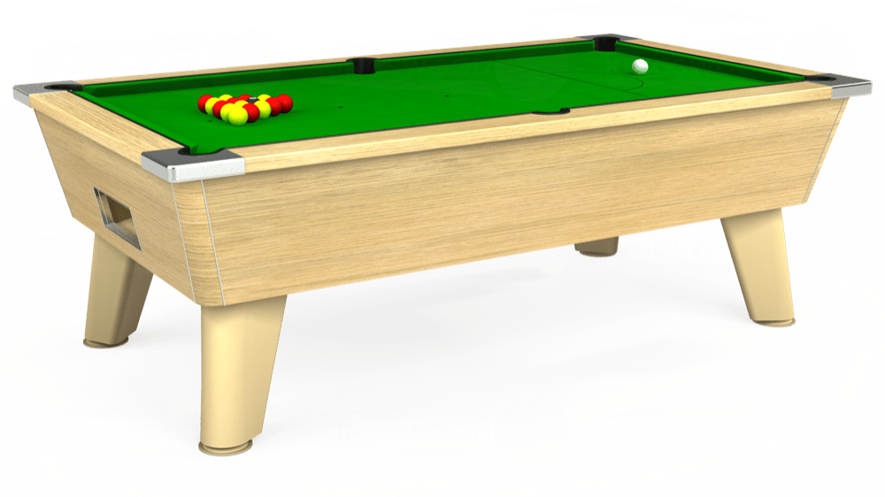 7ft Omega Free Play Pool Table in Light Oak with Standard Green cloth delivered and installed - £975.00