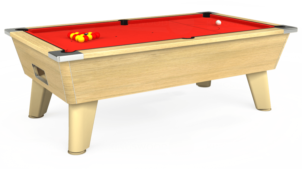 7ft Omega Free Play Pool Table in Light Oak with Hainsworth Elite-Pro Bright Red cloth delivered and installed - £1,125.00