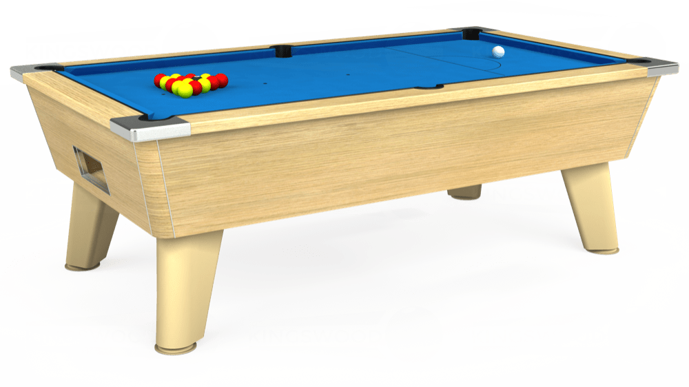 7ft Omega Free Play Pool Table in Light Oak with Hainsworth Elite-Pro Electric Blue cloth delivered and installed - £1,125.00