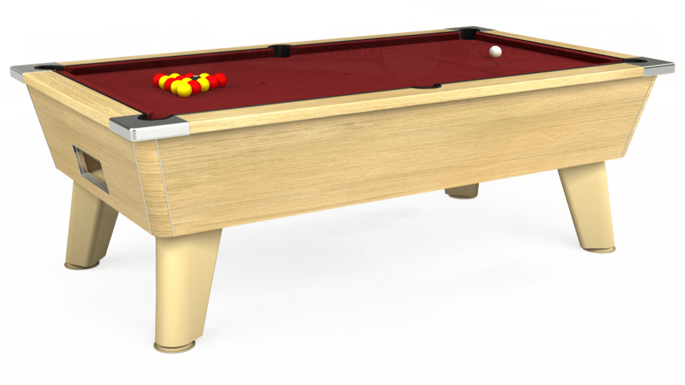 7ft Omega Free Play Pool Table in Light Oak with Hainsworth Smart Maroon cloth delivered and installed - £1,125.00