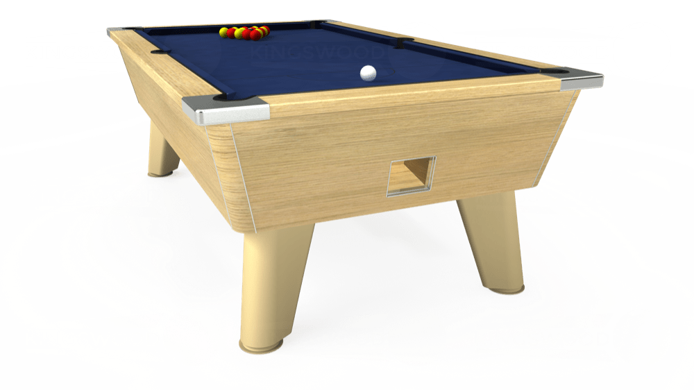7ft Omega Free Play Pool Table in Light Oak with Hainsworth Smart Royal Navy cloth delivered and installed - £1,125.00