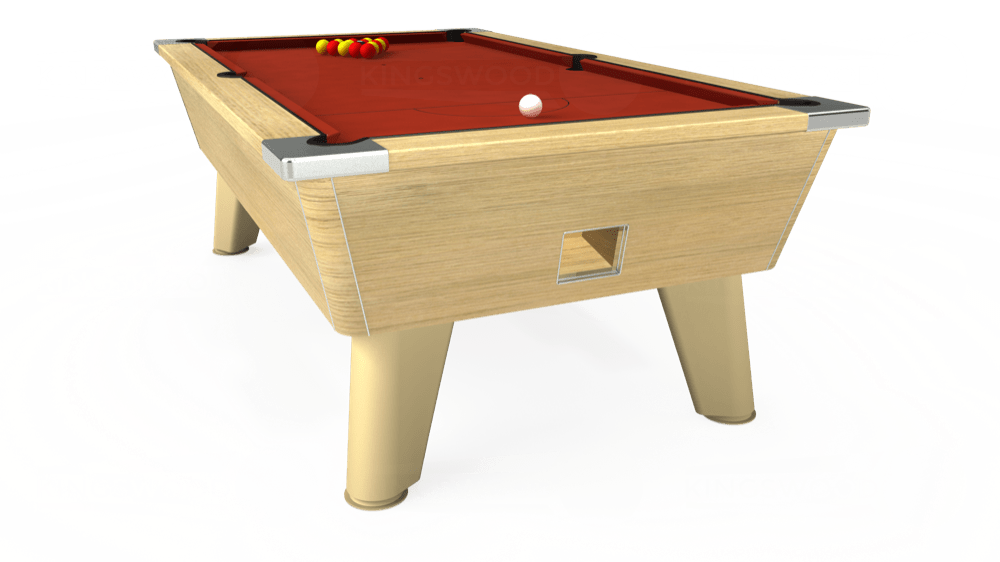 7ft Omega Free Play Pool Table in Light Oak with Hainsworth Smart Paprika cloth delivered and installed - £1,125.00