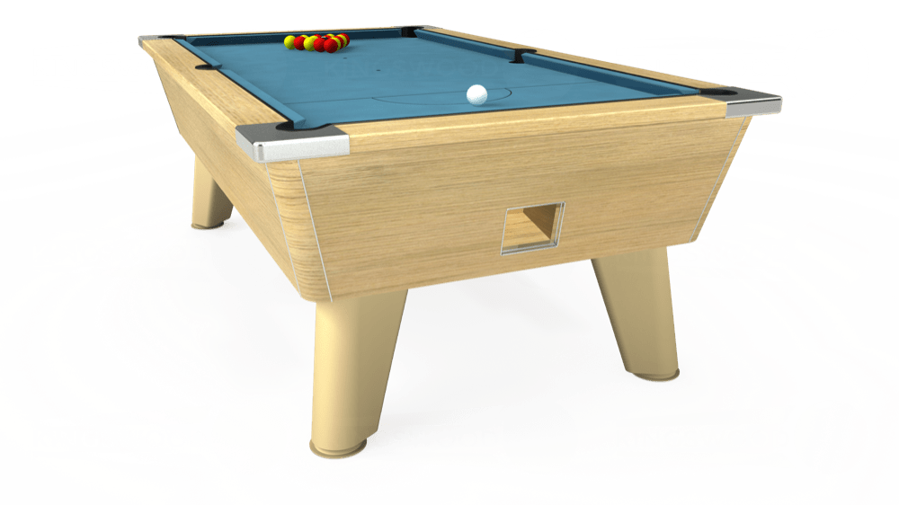 7ft Omega Free Play Pool Table in Light Oak with Hainsworth Smart Powder Blue cloth delivered and installed - £1,125.00