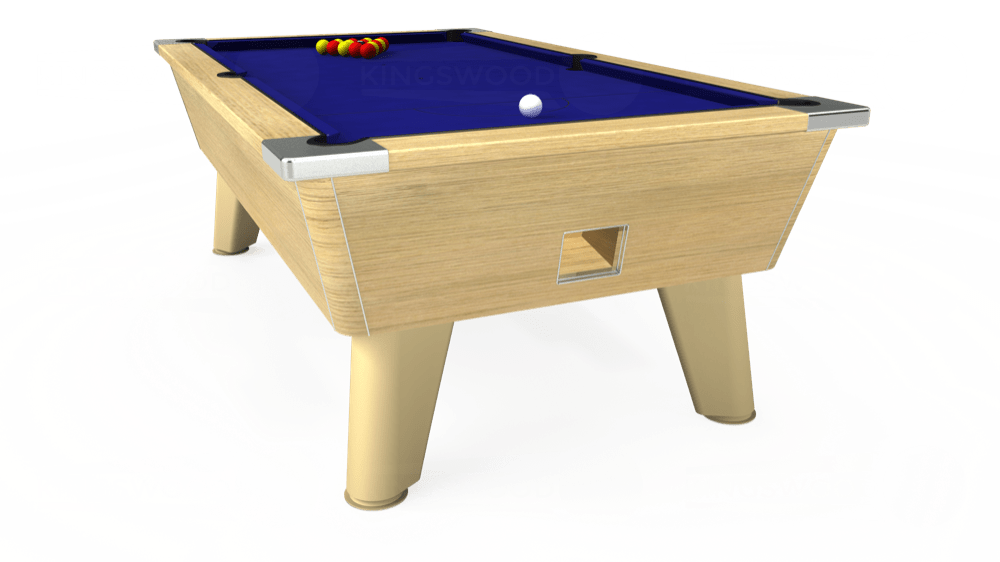 7ft Omega Free Play Pool Table in Light Oak with Hainsworth Smart Royal Blue cloth delivered and installed - £1,125.00