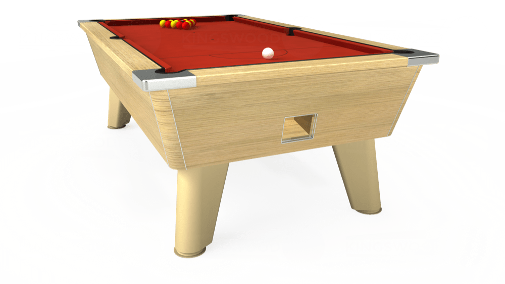 7ft Omega Free Play Pool Table in Light Oak with Hainsworth Smart Windsor Red cloth delivered and installed - £1,150.00