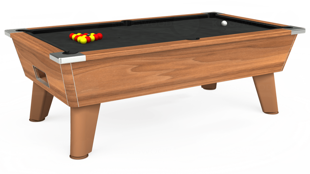 7ft Omega Free Play Pool Table in Dark Walnut with Standard Black cloth delivered and installed - £900.00