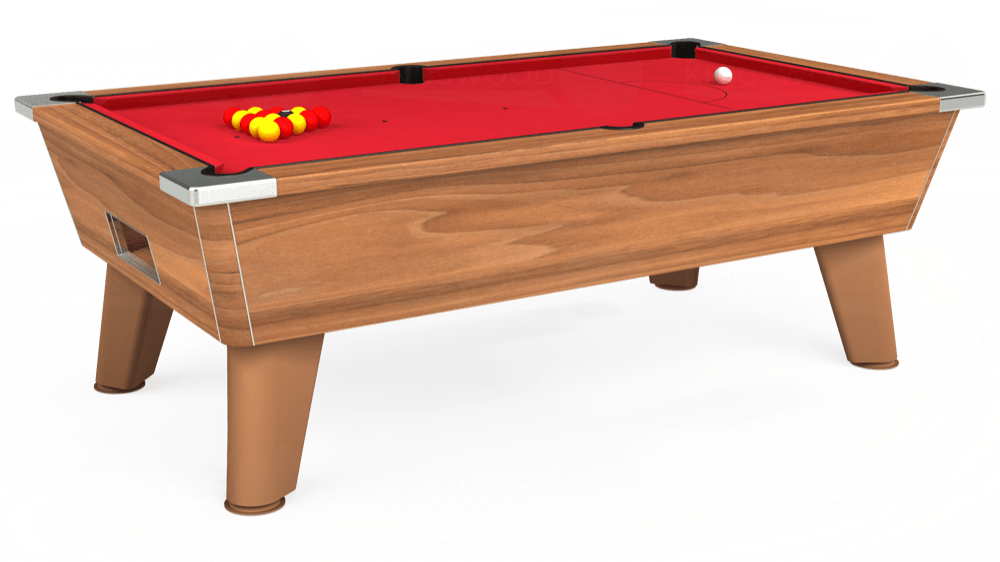 7ft Omega Free Play Pool Table in Light Walnut with Standard Red cloth delivered and installed - £975.00