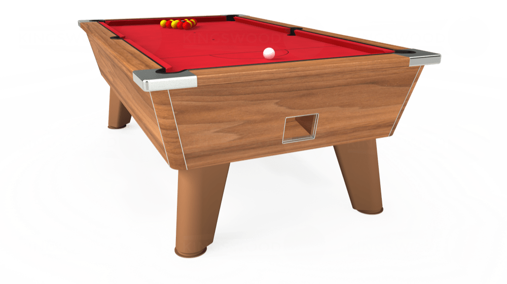 7ft Omega Free Play Pool Table in Light Walnut with Standard Red cloth delivered and installed - £1,025.00