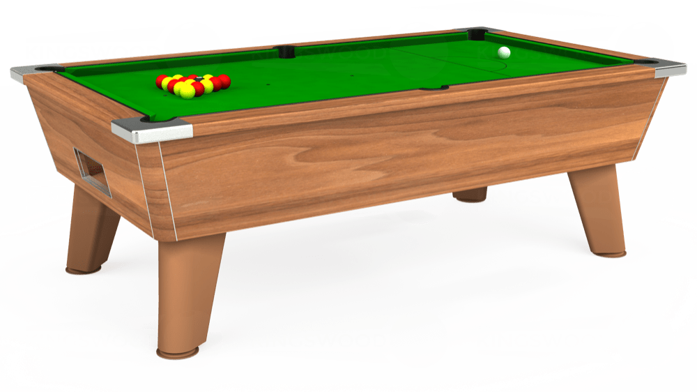 7ft Omega Free Play Pool Table in Light Walnut with Standard Green cloth delivered and installed - £975.00