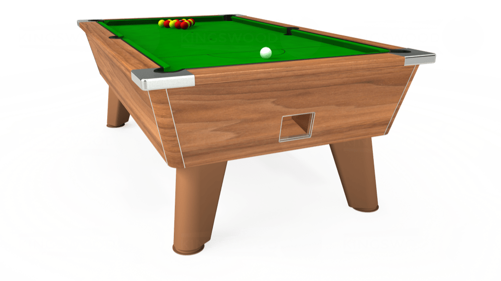 7ft Omega Free Play Pool Table in Light Walnut with Standard Green cloth delivered and installed - £1,025.00