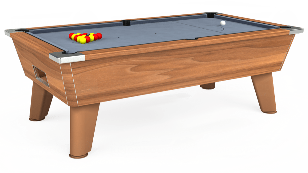 7ft Omega Free Play Pool Table in Light Walnut with Hainsworth Elite-Pro Bankers Grey cloth delivered and installed - £1,125.00