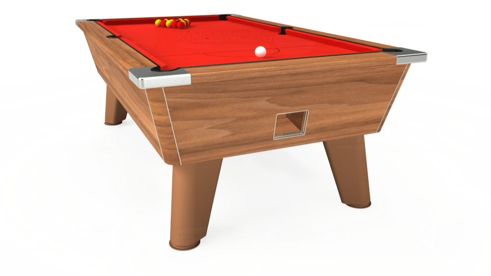 7ft Omega Free Play Pool Table in Light Walnut with Hainsworth Elite-Pro Bright Red cloth delivered and installed - £1,125.00