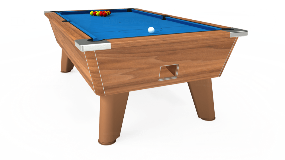 7ft Omega Free Play Pool Table in Light Walnut with Hainsworth Elite-Pro Electric Blue cloth delivered and installed - £1,125.00