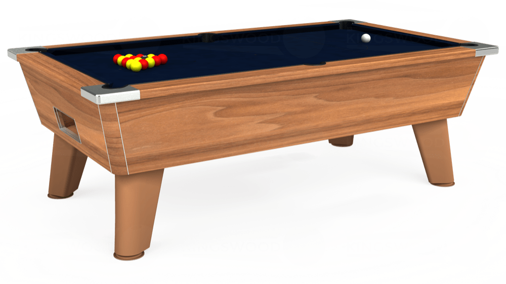 7ft Omega Free Play Pool Table in Light Walnut with Hainsworth Smart French Navy cloth delivered and installed - £1,125.00
