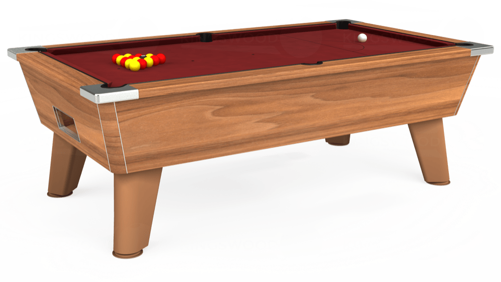 7ft Omega Free Play Pool Table in Light Walnut with Hainsworth Smart Maroon cloth delivered and installed - £1,125.00