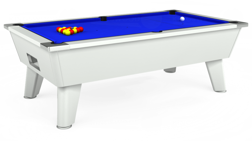 7ft Outback Free Play Pool Table in White with Standard Blue cloth delivered and installed - £1,275.00