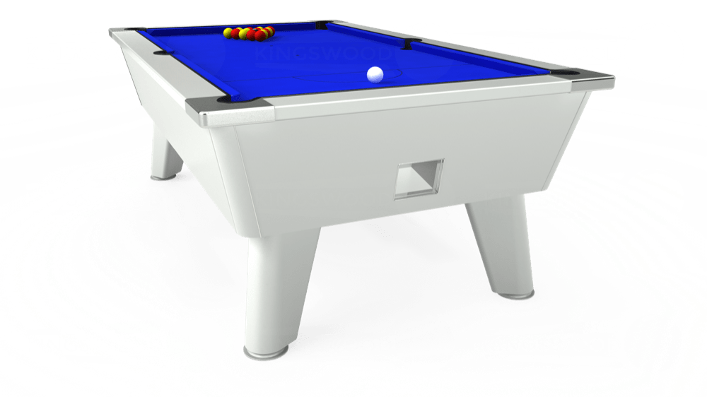7ft Omega Free Play Pool Table in White with Standard Blue cloth delivered and installed - £1,025.00