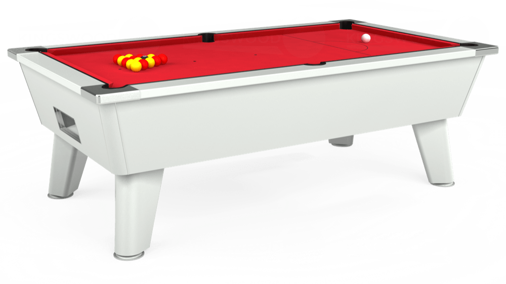 7ft Omega Free Play Pool Table in White with Standard Red cloth delivered and installed - £1,025.00