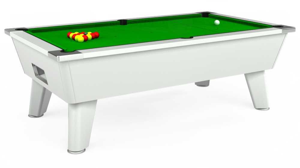 7ft Outback Free Play Pool Table in White with Standard Green cloth delivered and installed - £1,170.00