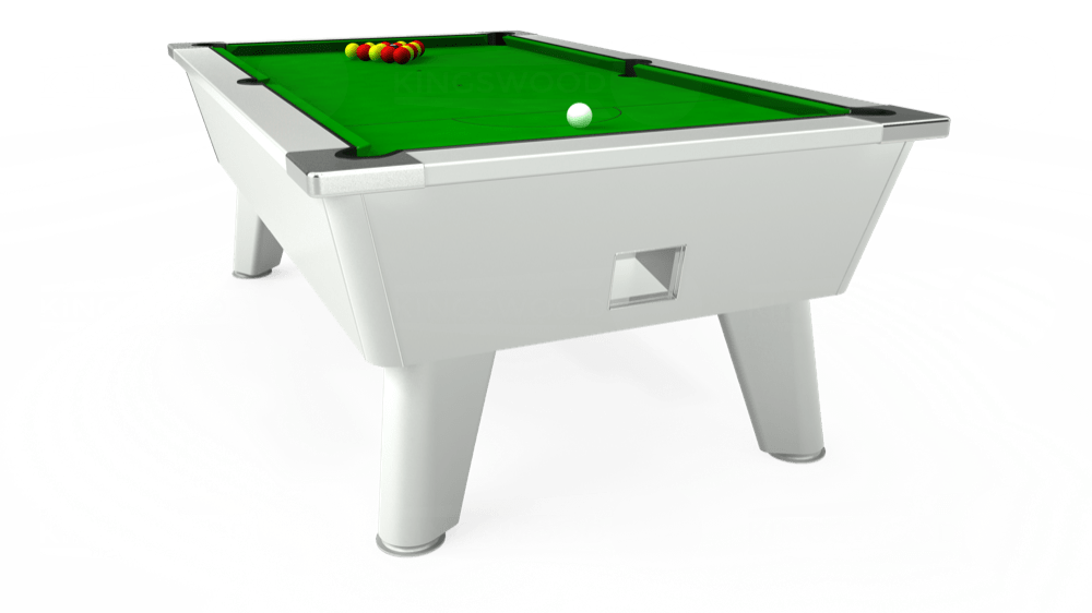 7ft Omega Free Play Pool Table in White with Standard Green cloth delivered and installed - £1,025.00