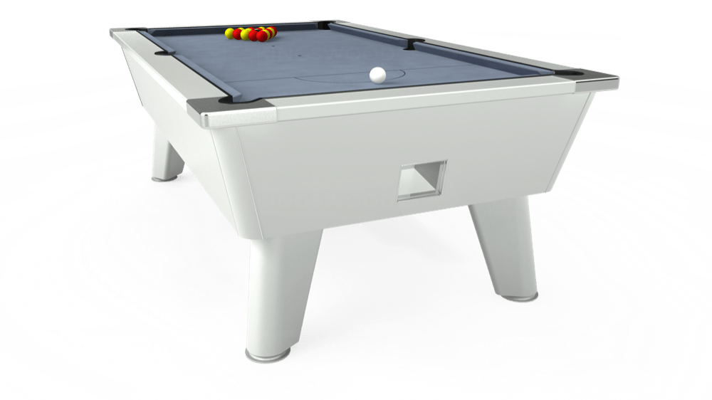 7ft Outback Free Play Pool Table in White with Hainsworth Elite-Pro Bankers Grey cloth delivered and installed - £1,375.00