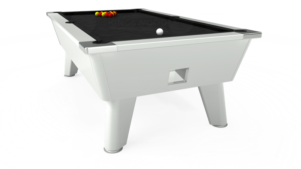7ft Omega Free Play Pool Table in White with Hainsworth Elite-Pro Black cloth delivered and installed - £1,125.00