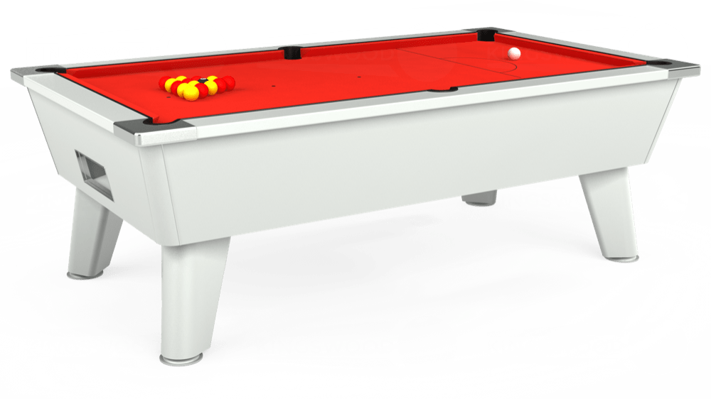 7ft Outback Free Play Pool Table in White with Hainsworth Elite-Pro Bright Red cloth delivered and installed - £1,375.00
