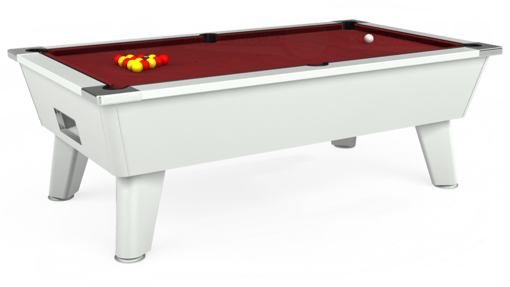 7ft Outback Free Play Pool Table in White with Hainsworth Elite-Pro Burgundy cloth delivered and installed - £1,375.00