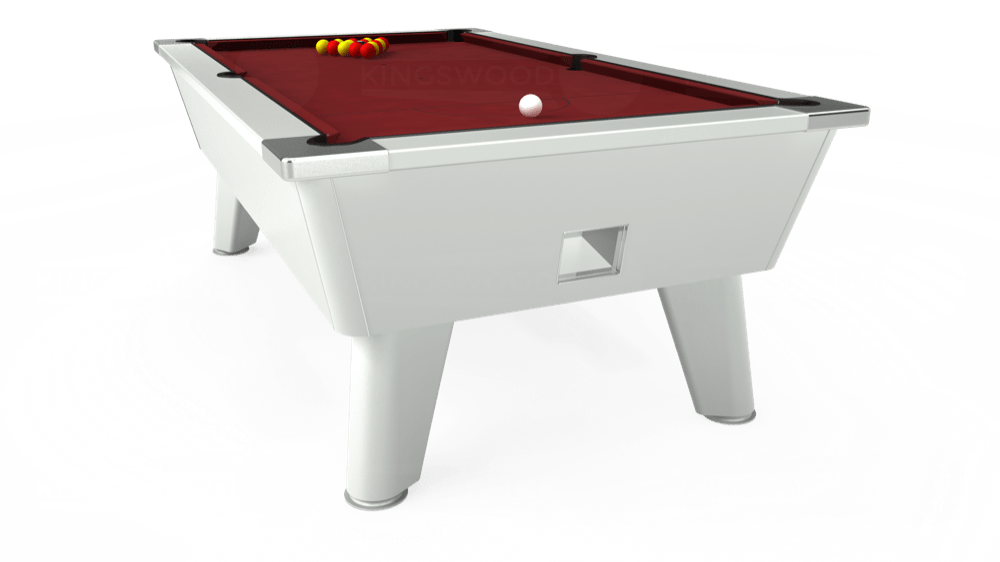 7ft Omega Free Play Pool Table in White with Hainsworth Elite-Pro Burgundy cloth delivered and installed - £1,125.00